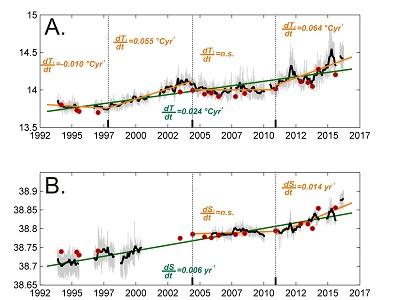 l'immagine mostra l'aumento di temperatura e di salinità, presa dall'ultimo articolo pubblicato (leggenda immagine: Evoluzione temporale di temperatura e di salinità a 400 m di profondità nel Canale di Sicilia)