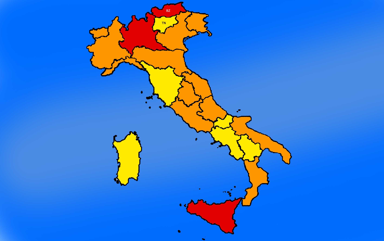 Covid: Lombardia Sicilia e prov. Bolzano in zona Rossa, altre 9 in arancione